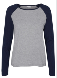 Noisy May Gradu Long Sleeve Top Bright Navy Grey Slee