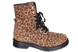 PS Poelman Biker Boots Leopard Black Brown