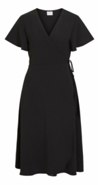 Vila Vilovie wrap midi Dress Black