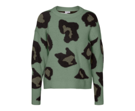 Noisy May Leo O-Neck Knit Green Leopard