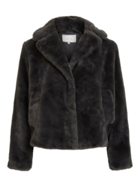 Vila Jacket Mars Short Faux Fur Antraciet