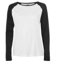Noisy May Gradu Long Sleeve Top Bright White / Black Slee