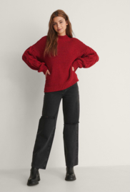 NA-KD Cable Knitted Sweater Bright Red