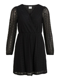 Vila Chikka Long Sleeve Wrap Lace Dress Black