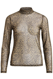 Vila Gitta Long Sleeve Printed Mesh Top Buttermut Wild