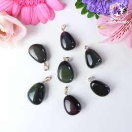 Regenboog Obsidiaan Luxe Gezondheidshanger .925 Sterling Zilver Rhodium plated
