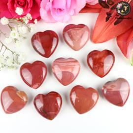 Rode Mookaiet hart ~ 3 cm
