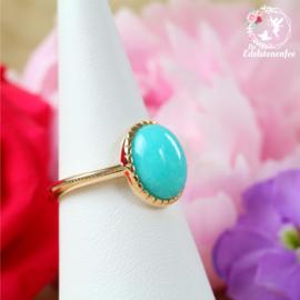 Amazoniet Ring Ovaal 10K Goldplated verstelbaar A+ kwaliteit