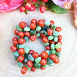 Rode Jaspis & Jade Armband 3 strengen