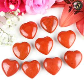 Rode Jaspis hart ~ 3 cm