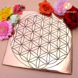Koperen Edelstenen Grid Plaat Flower of Life