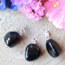 Zwarte Toermalijn Luxe Gezondheidshanger .925 Sterling Zilver Rhodium plated