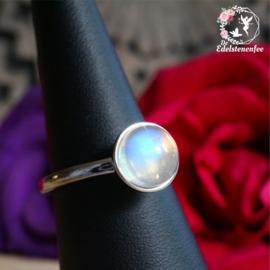Regenboog Maansteen Ring Rond verstelbaar AA kwaliteit