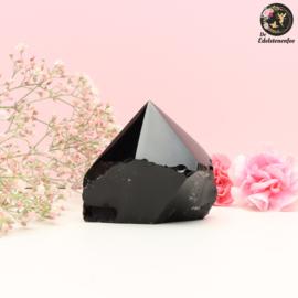 Zwarte Obsidiaan punt half geslepen nr. 1