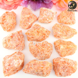 Oranje/Rode Orchidee Calciet ruw maat 1