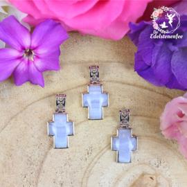 Edelsteen Hanger Blue Lace Chalcedoon Kruis A+ kwaliteit
