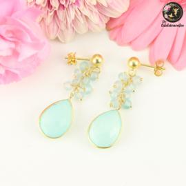 Aqua Chalcedoon Fairy   .925 goldplated dangle oorstekers