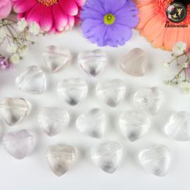 Bergkristal hart doorboorde hanger ~ 2 cm