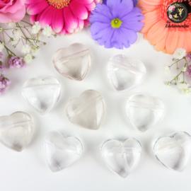 Bergkristal hart doorboorde hanger ~ 3 cm