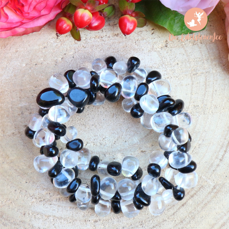 Obsidiaan & Bergkristal Armband 3 strengen