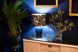 Royal Blue Ceramic Vase with Peacock Shade