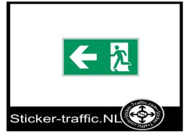 Vluchtweg naar links sticker