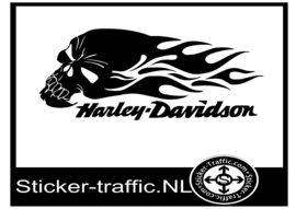Harley Davidson Flame Skull Sticker