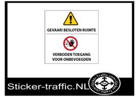 Besloten ruimte, verboden toegang sticker