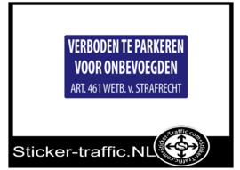 Verboden te parkeren voor onbevoegden sticker