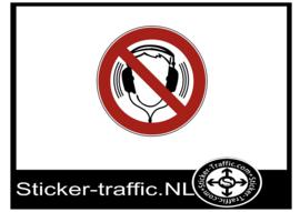 Koptelefoon met muziek verboden sticker