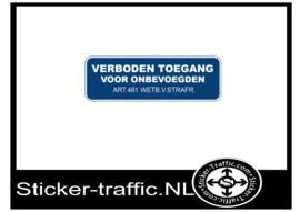 Verboden toegang voor onbevoegden sticker