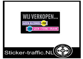 Wij verkopen geen alcohol aan onder de 18 sticker