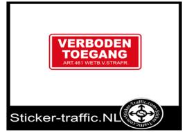 Verboden toegang wetb.v. strafr. sticker
