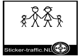 Happy family stick design 4 sticker