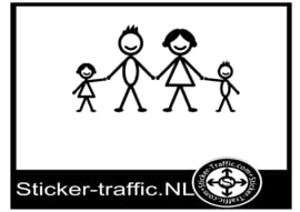 Happy family stick design 5 sticker