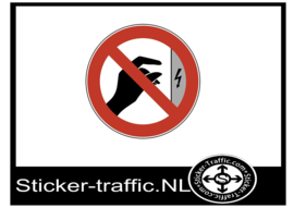 Aanraken verboden, oppervlak onder spanning sticker