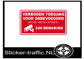 Verboden toegang 24H bewaking sticker