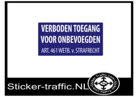 Verboden toegang wetb. v. strafrecht sticker