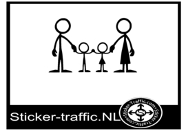 Happy family stick design 1 sticker