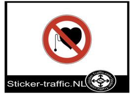 Verboden voor mensen met pacemaker sticker