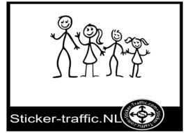 Happy family stick design 2 sticker