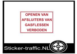 Openen van gasflessen verboden sticker