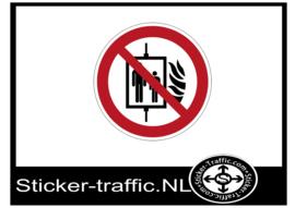 Bij brand lift niet gebruiken sticker