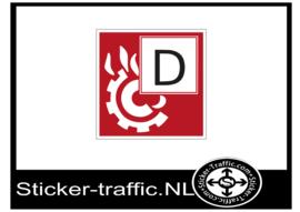 Brandklasse D sticker