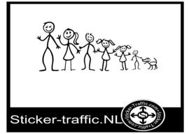 Happy family stick design 3 sticker