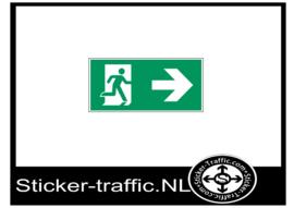 Vluchtweg naar rechts sticker