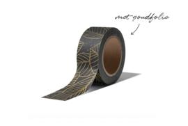 Washi tape | Leaves zwart goud
