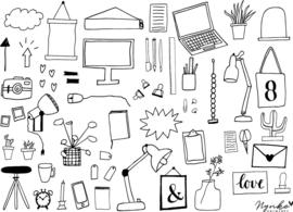 50 Office illustraties