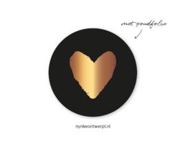 Sticker | Hart goud met zwart | 10 stuks