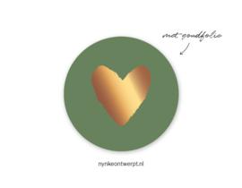 Sticker | Groen hart | 10 stuks